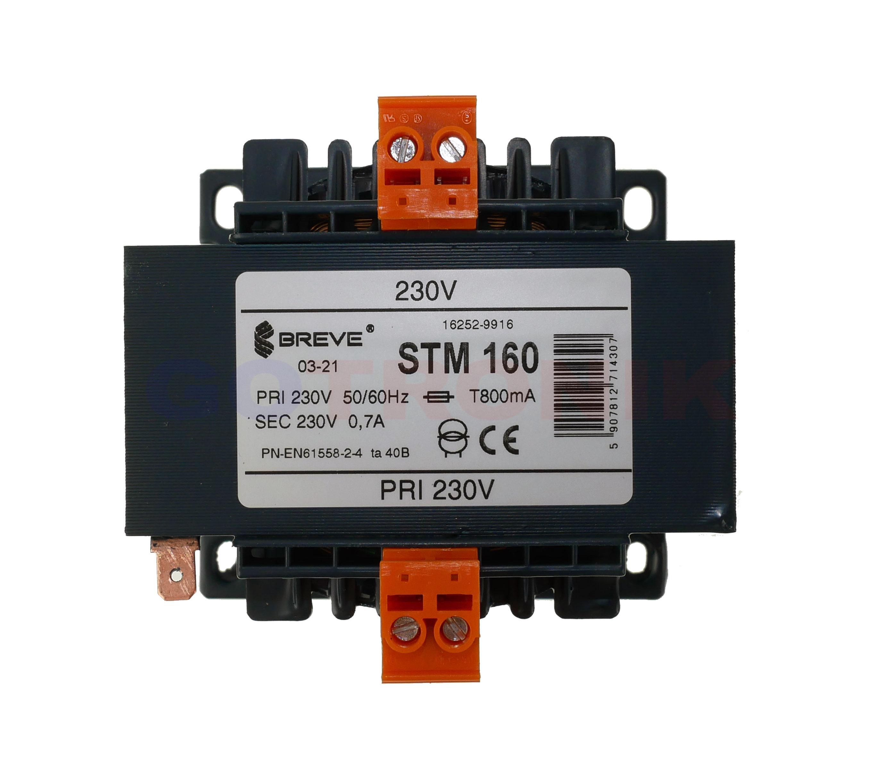 STM 160 230/230V Jednofazowy transformator EI IP00 separacyjny lub bezpieczeństwa