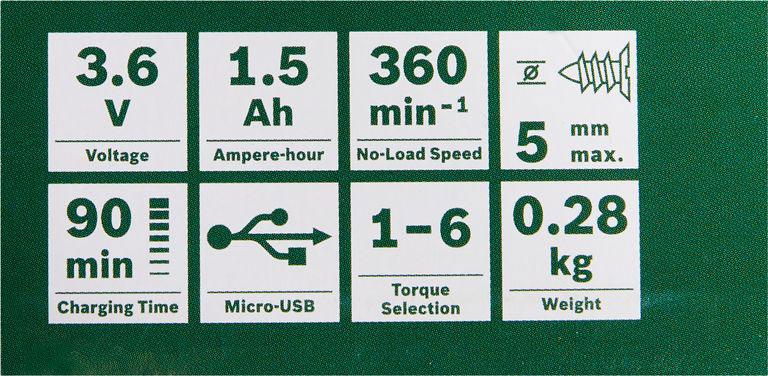 wkrętak wkrętarka pushdrive bosch akumulatorowa bezprzewodowa precyzyjna li-ion 3,6V śrubokręt elektryczny 32 bity