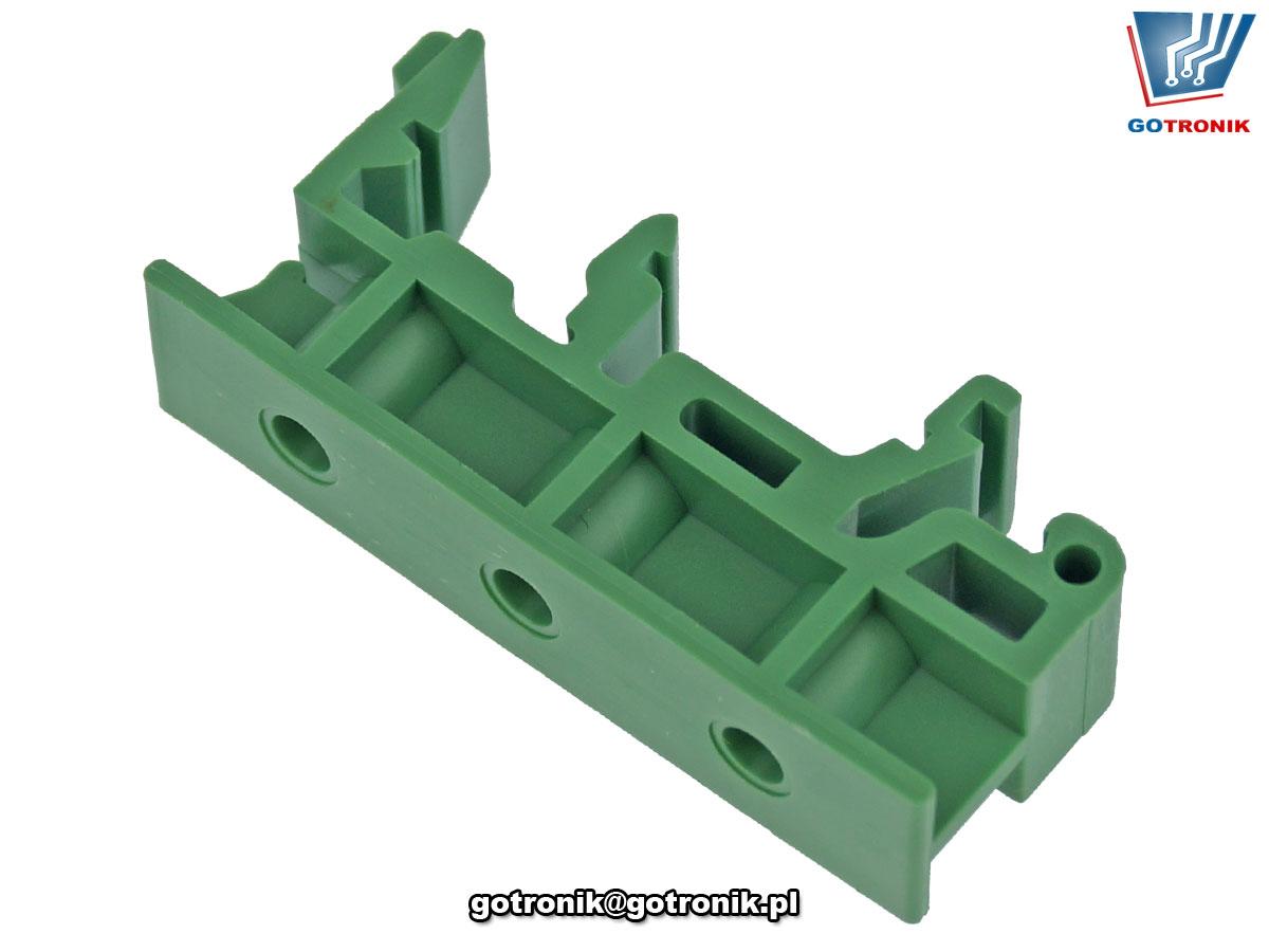 Uchwyt mocujący na szynie TS35 KMRH produkcji Dinkle w kolorze zielonym 10mm. RoHS