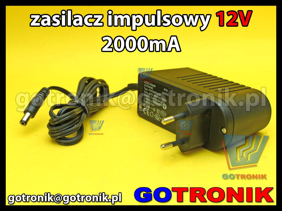 zasilacz 12V 2000mA 2A sieciowy impulsowy 311P0W062