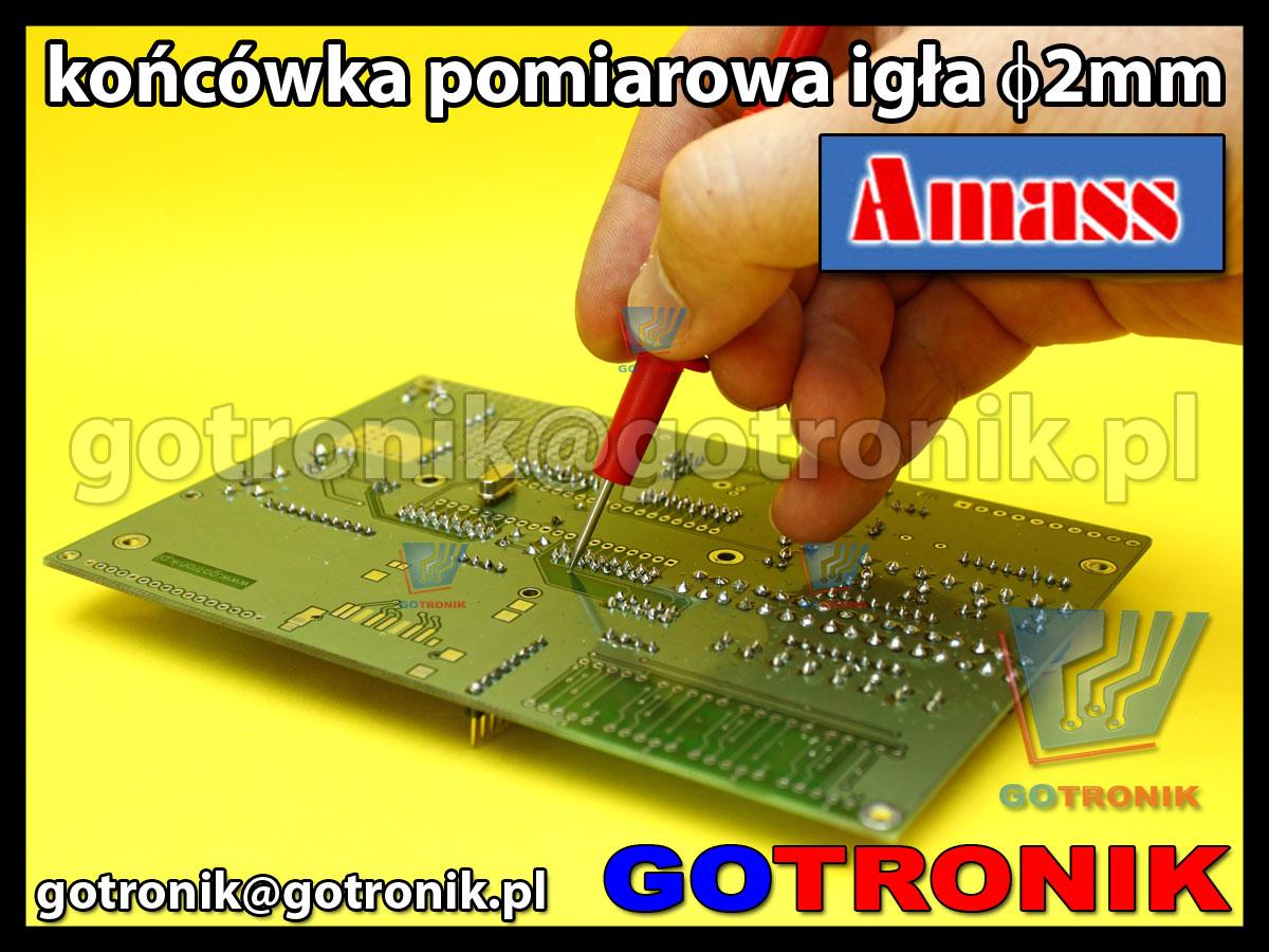 Końcówka pomiarowa igła 2mm czerwona na wtyk banan 4mm Amass 20.156.1 CATII 1000V 10A