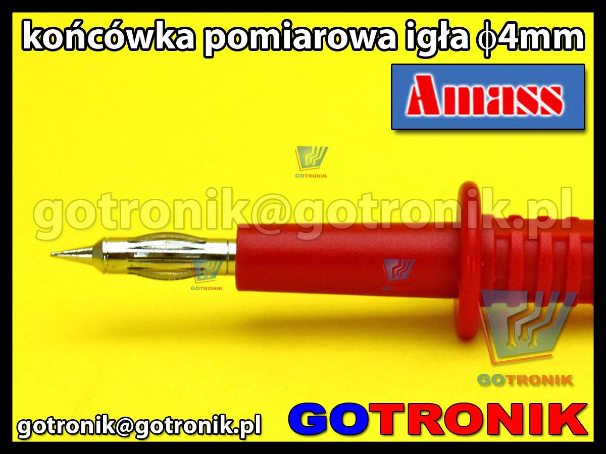 Końcówka pomiarowa igła 4mm czerwona na wtyk banan 4mm Amass 20.157.1 CATII 1000V 32A