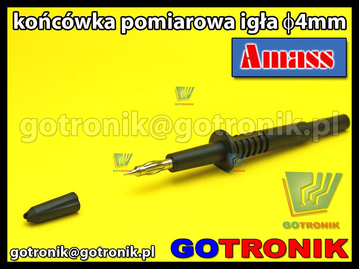 Końcówka pomiarowa igła 4mm czarna na wtyk banan 4mm Amass 20.157.2 CATII 1000V 32A