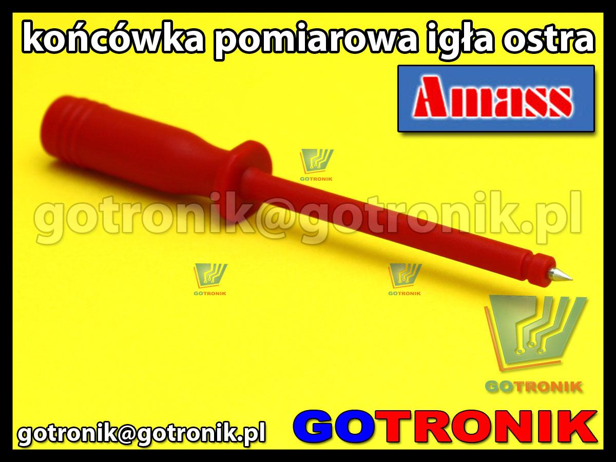 Końcówka pomiarowa igła ostra czerwona na wtyk banan 4mm Amass 20.164.1 CATII 1000V 10A