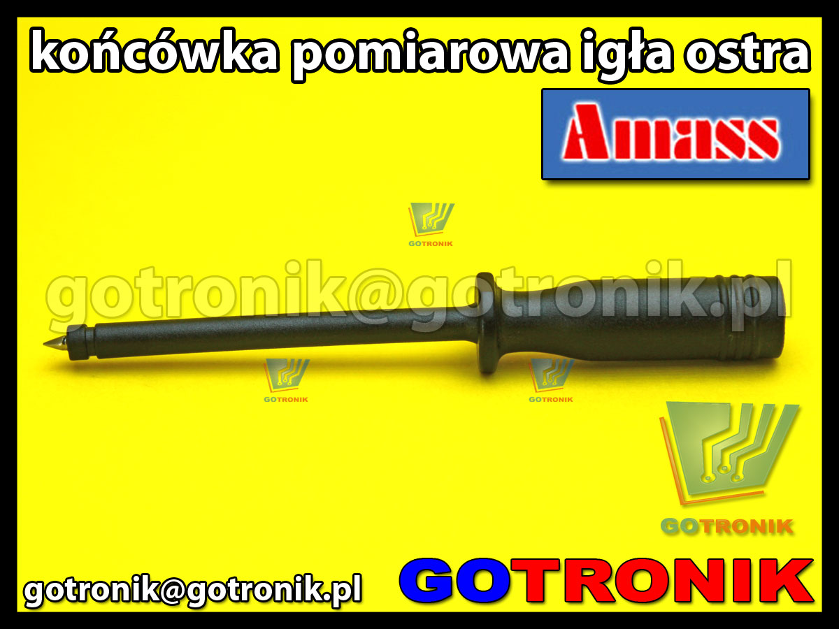 Końcówka pomiarowa igła ostra czarna na wtyk banan 4mm Amass 20.164.2 CATII 1000V 10A