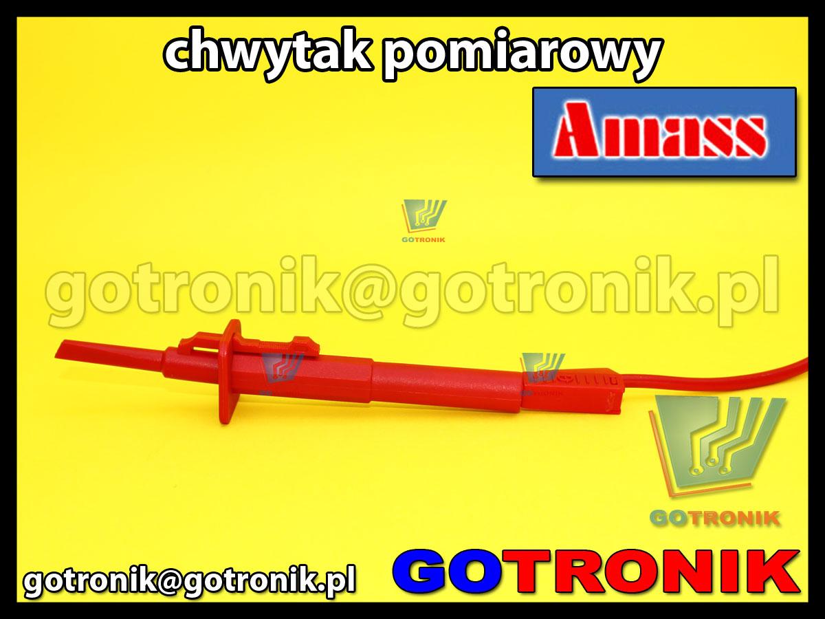 Chwytak pomiarowy haczyk czerwony Amass 20.170.1 CATIII 1000V 10A z gniazdem na wtyk banan 4mm