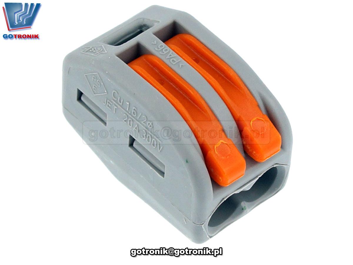 Szybkozłączka 2x 0,08-4mm2 z dźwigniami zwalniającymi jasnoszara x1szt. Z241