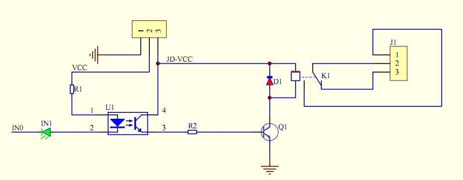 schemat ideowy Moduł 2-kanałowy przekaźnik do AVR ARM ARDUINO