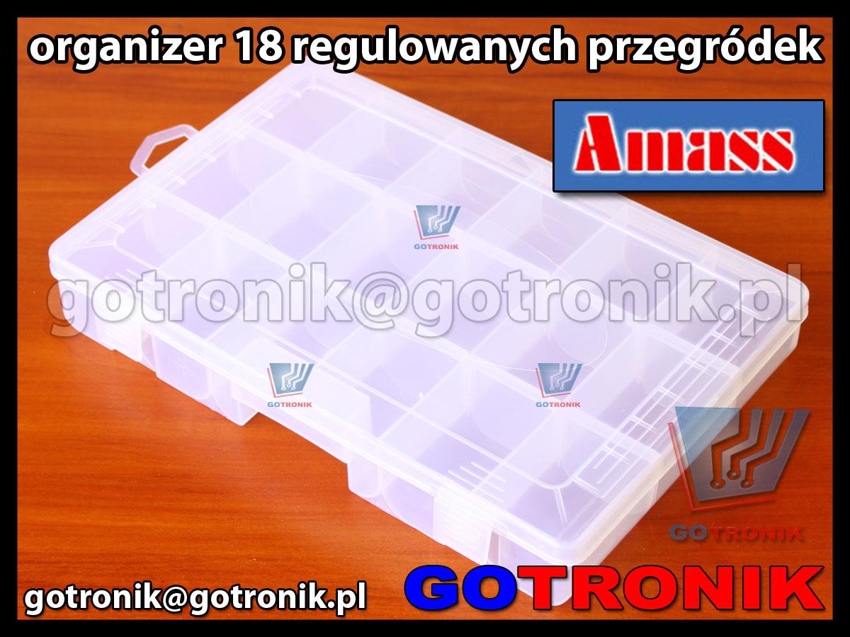 Organizer z 18 regulowanymi przegródkami Amass 35.910 wymiary zewnetrzne 275mm x 180mm