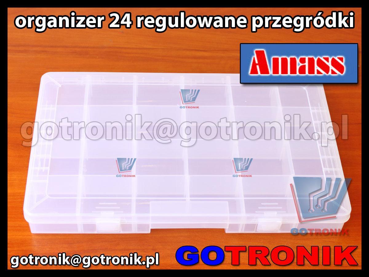 Organizer z 24 regulowanymi przegródkami Amass 35.911 wymiary zewnetrzne355x220x49 mm