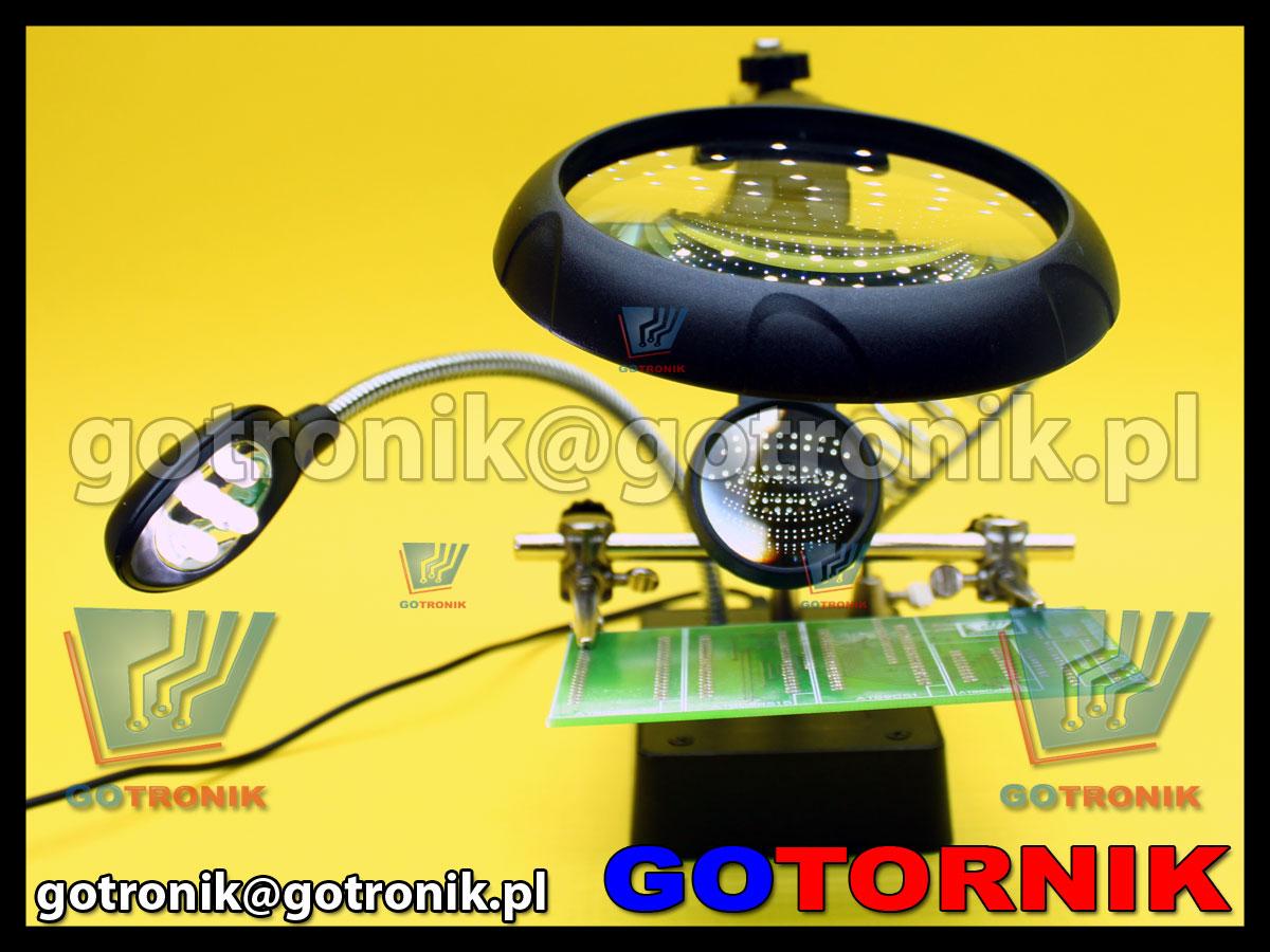 Zestaw optyczny trzecia ręką +uchwyt + 2x lupa + oświetlenie LED +podstawka pod lutownicę