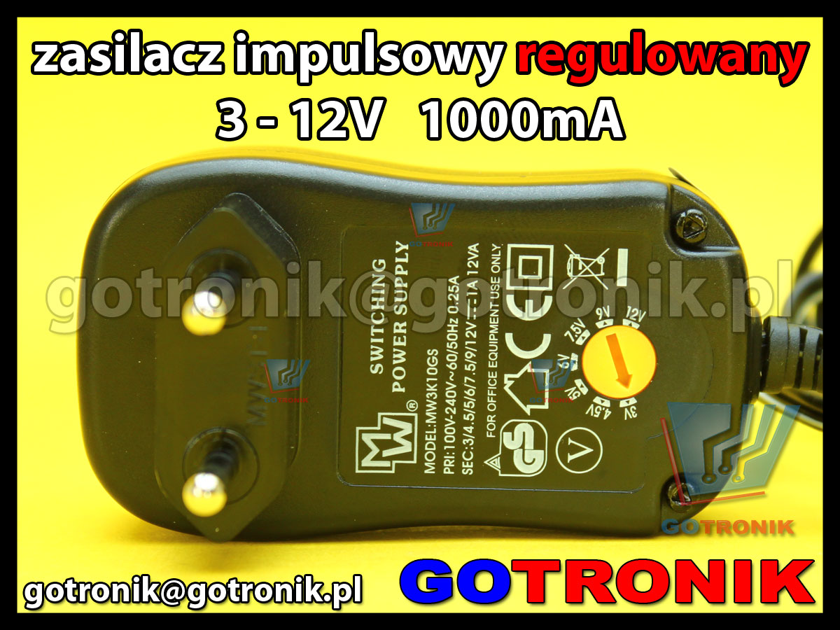 MW3K10GS 1A uniwersalny zasilacz impulsowy ładowarka minwa