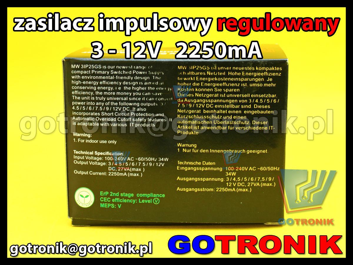 MW3IP25GS 2250mA uniwersalny zasilacz impulsowy ładowarka minwa 3 - 12V DC