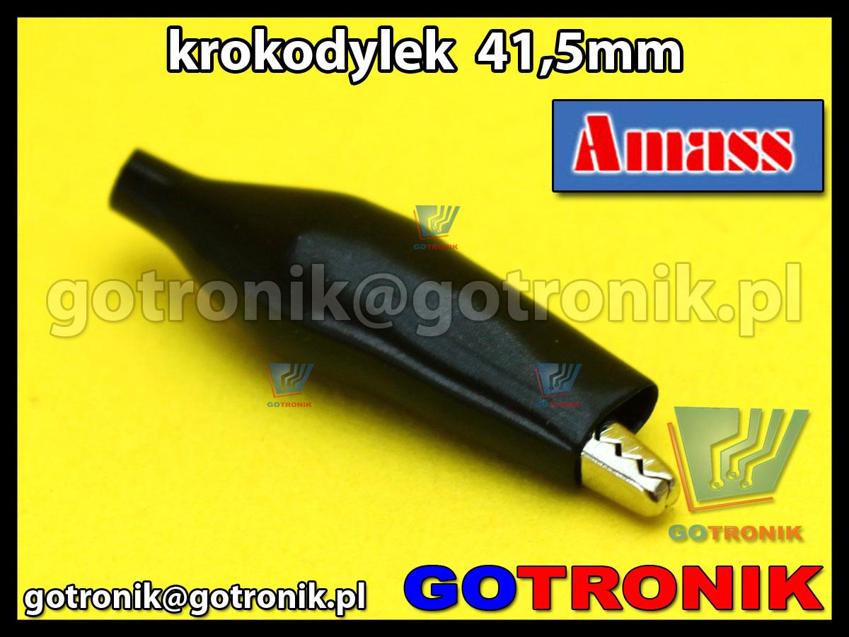 Krokodylek pomiarowy mini 41,5mm izolowany PCV czarny Amass 27.711.2