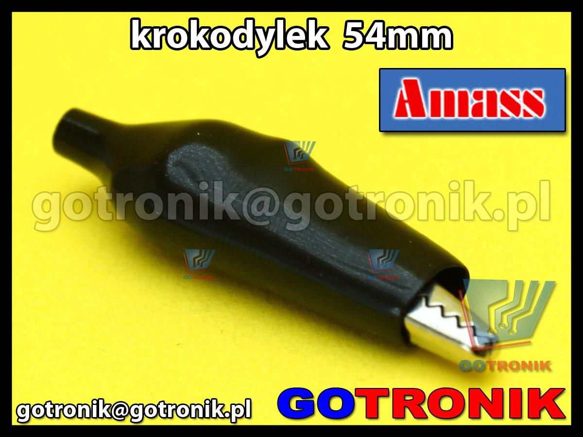Krokodylek pomiarowy mini 54mm izolowany PCV czarny Amass 27.712.2