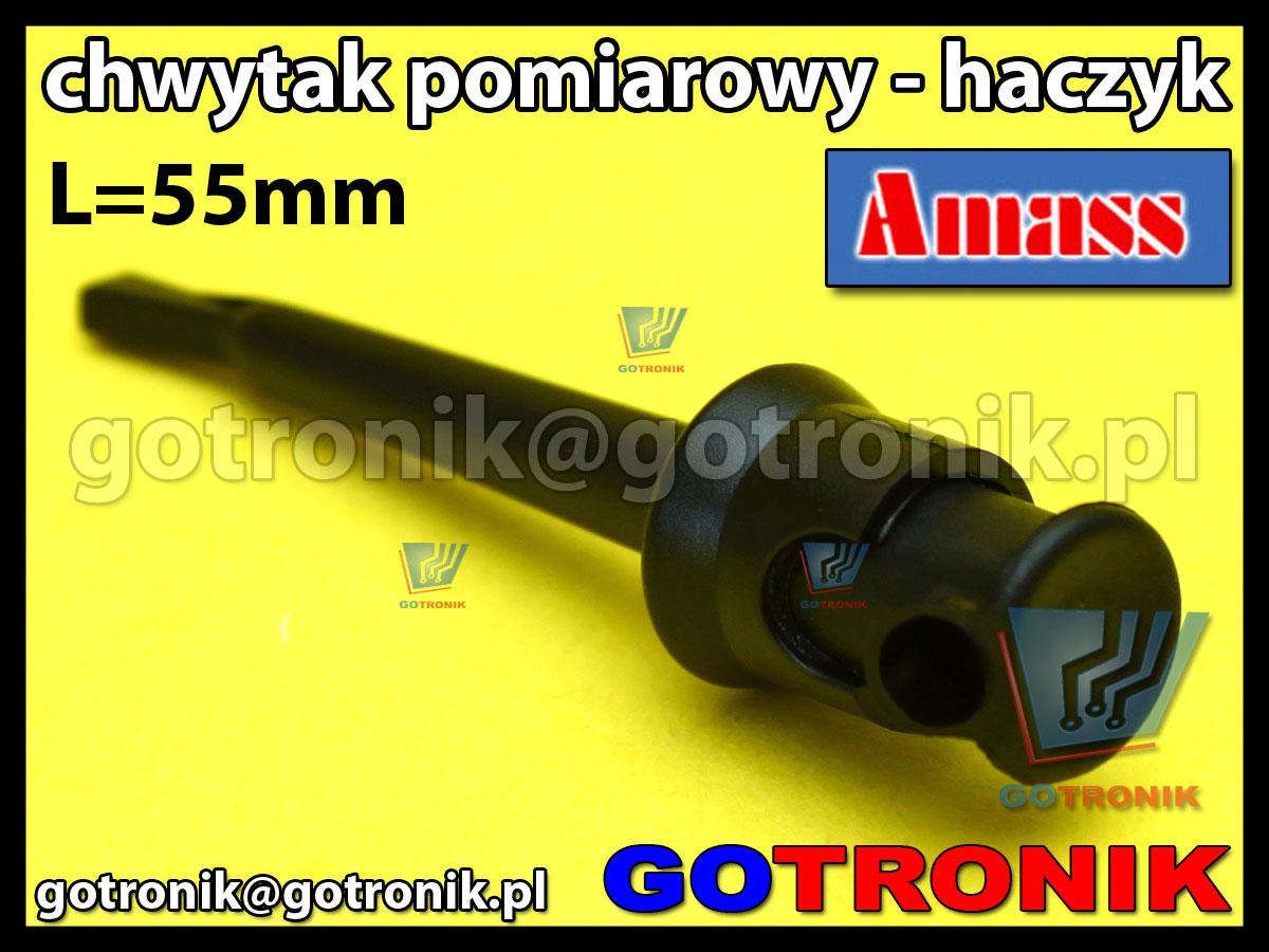 Chwytak pomiarowy haczyk L=55mm czarny Amass 20.135.2