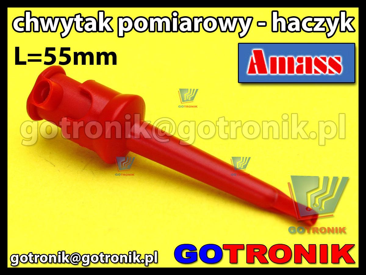 Chwytak pomiarowy haczyk L=55mm czerwony Amass 20.135.1