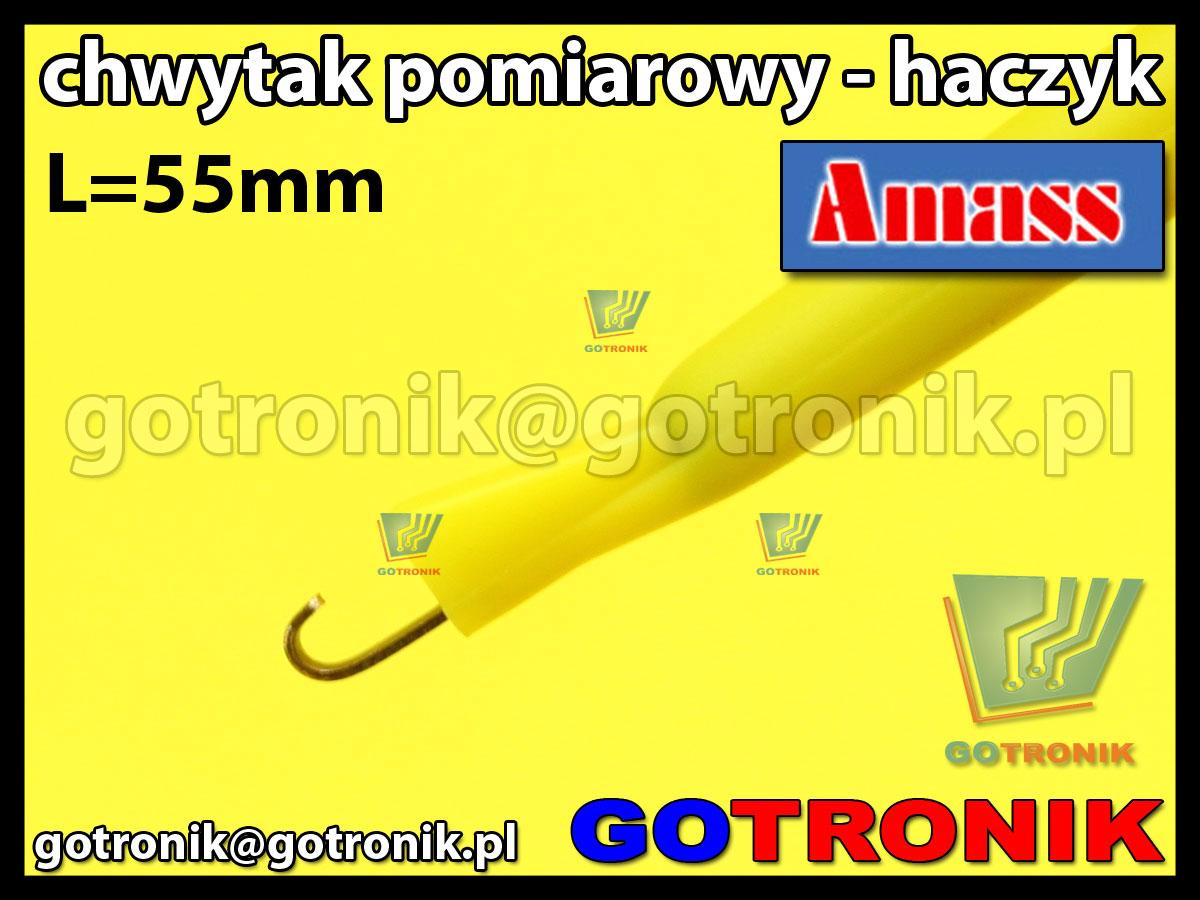 Chwytak pomiarowy haczyk L=55mm żółty Amass 20.135.3