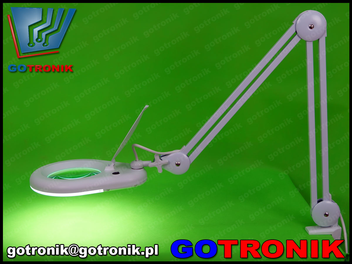 llampa z lupą powiększająca soczewka 3dioptrie lampa led smd x56 9w 5cali 127mm warsztatowa kosmetyczna biała statywie LAM-020 650lm serwisowa 8066d2 8066d2