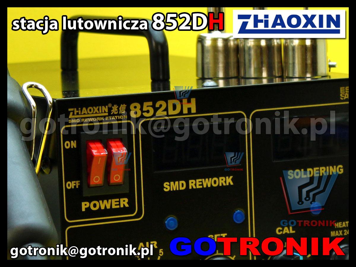 Stacja lutownicza 852DH Zaoxin 2w1 gorące powietrze HOT-AIR + cyfrowa stacja lutownicza ESD 75W
