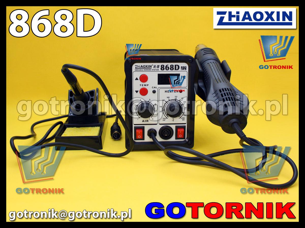 Stacja lutownicza 868D Zhaoxin 2w1 podwójna stacja kolbowa + na gorące powierze HOT-AIR