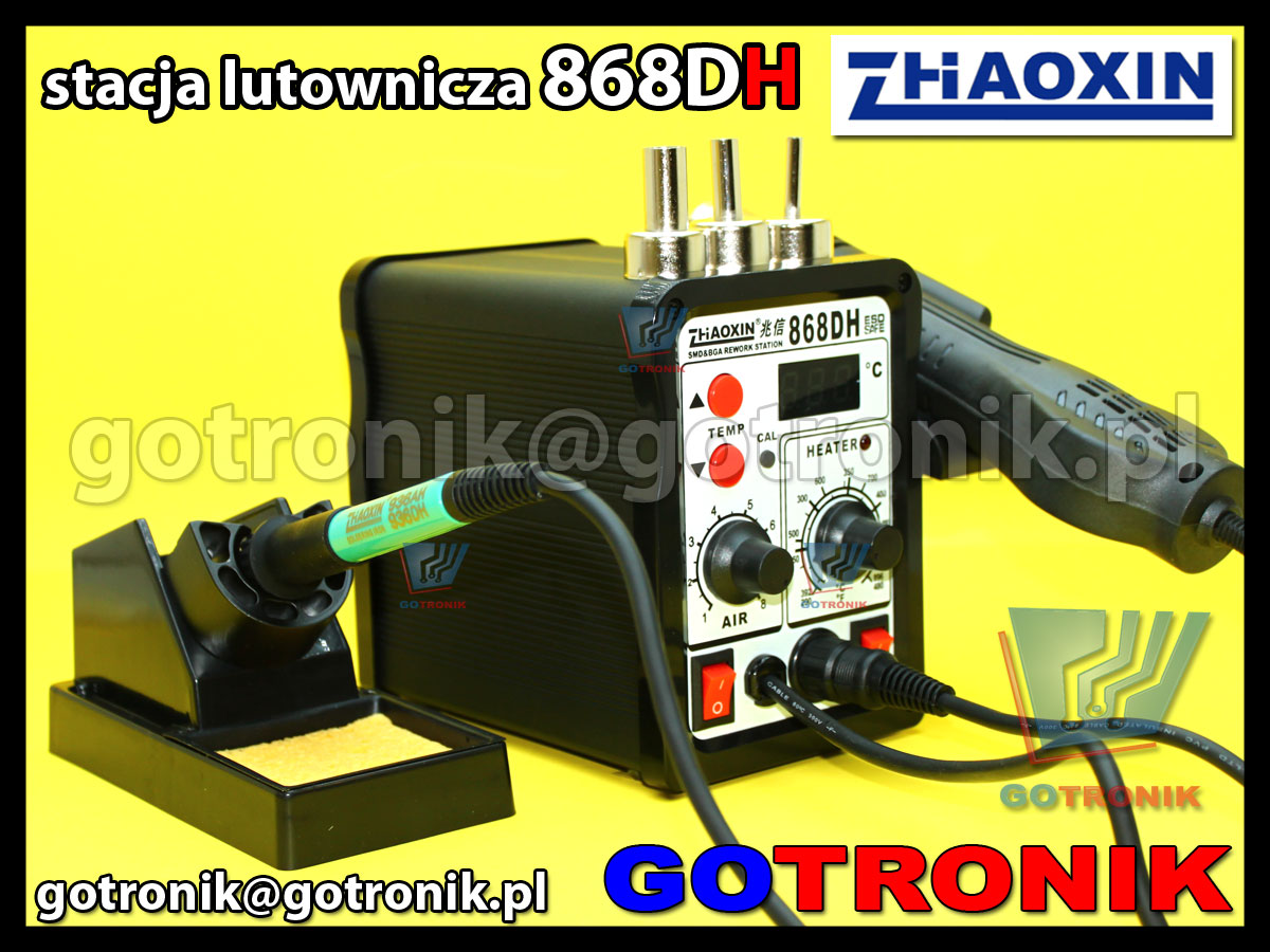 Stacja lutownicza 868DH Zaoxin 2w1 gorące powietrze HOT-AIR + stacja lutownicza ESD 75W