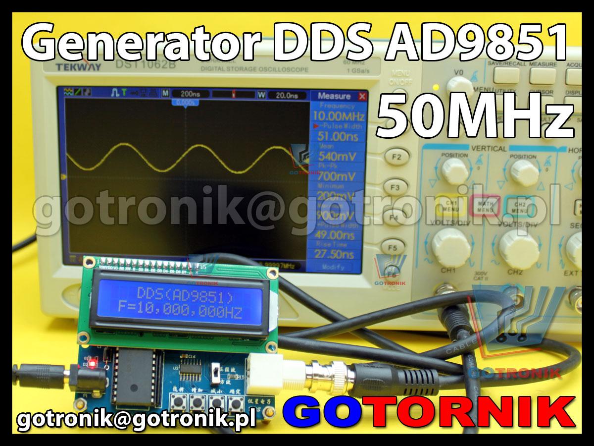 generator funkcyjny sygnałowy AD9851 DDS 50MHz sinusoida prostokąt