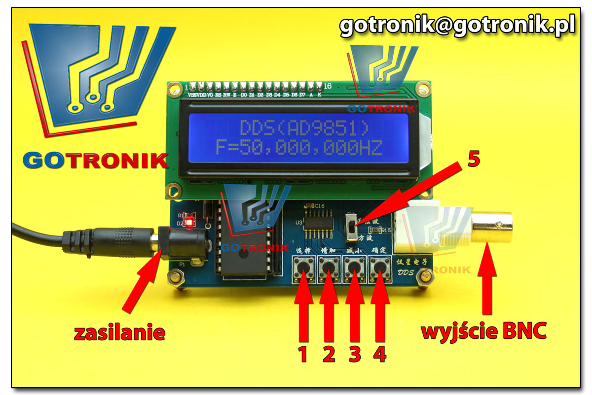 AD9851 generator DDS 50MHz opis