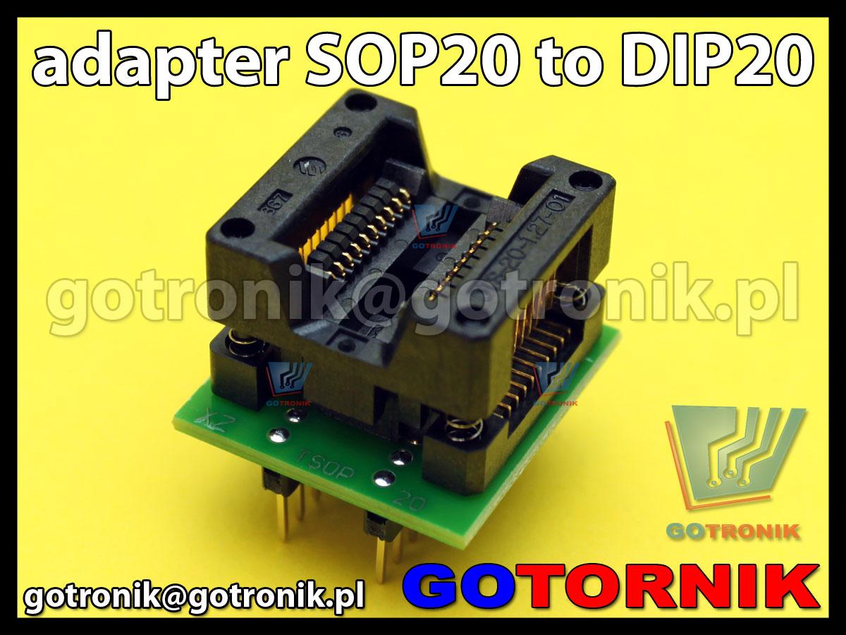 Adapter SOP20 to DIP20 1:1 uniwersalny do programatorów SMD 1,27mm 50mils SOIC SOP SO