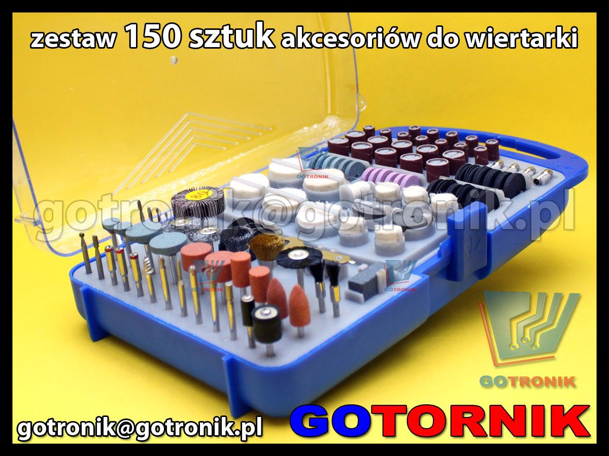 Zestaw 150 sztuk akcesoriów do drukarki  noże, kamienie szlifierskie, polerki talerzowe, szczotki i urządzenia do mocowania.