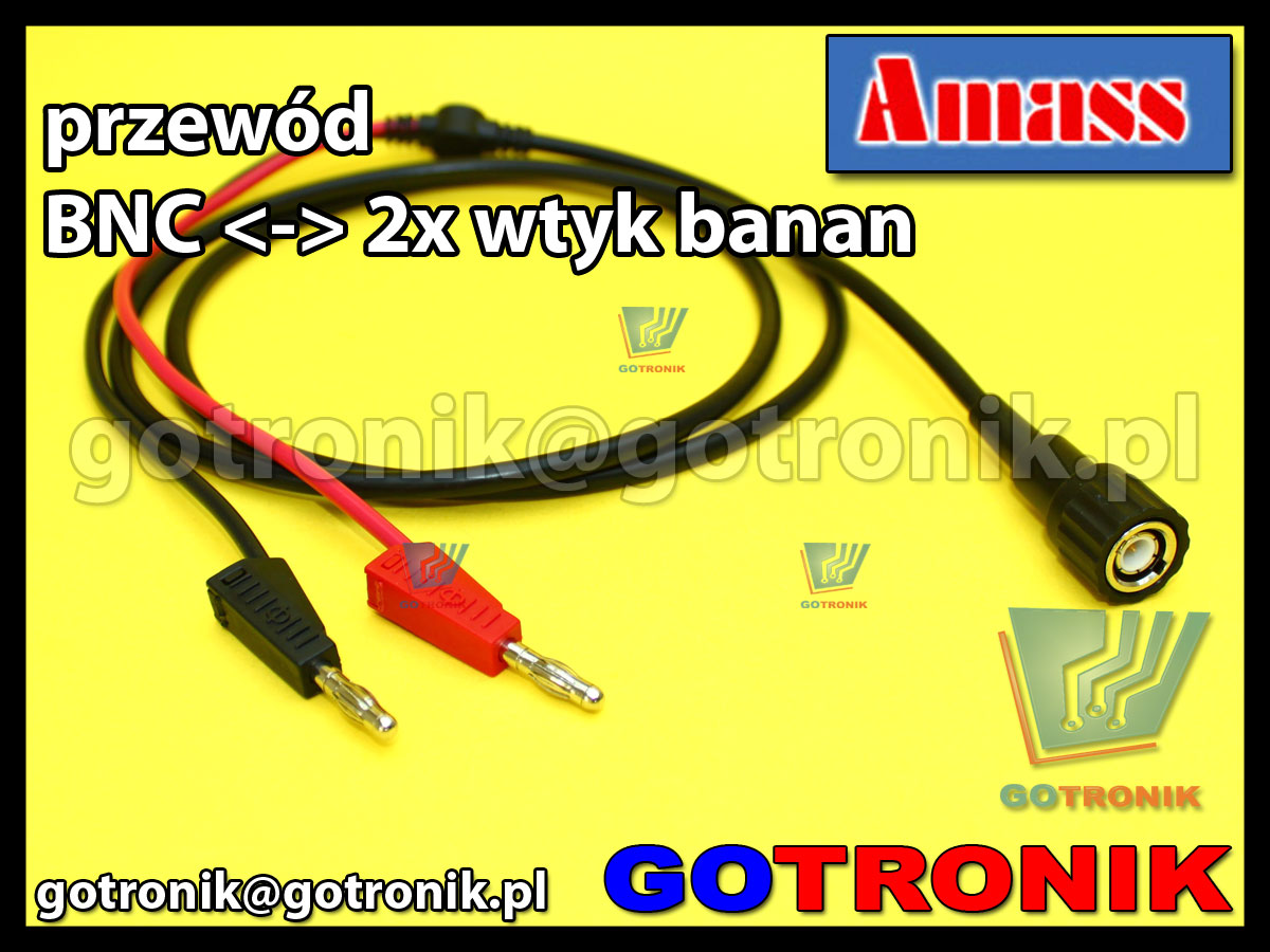 Przewód wtyk BNC na 2x wtyk banan 4mm Amass 21.030