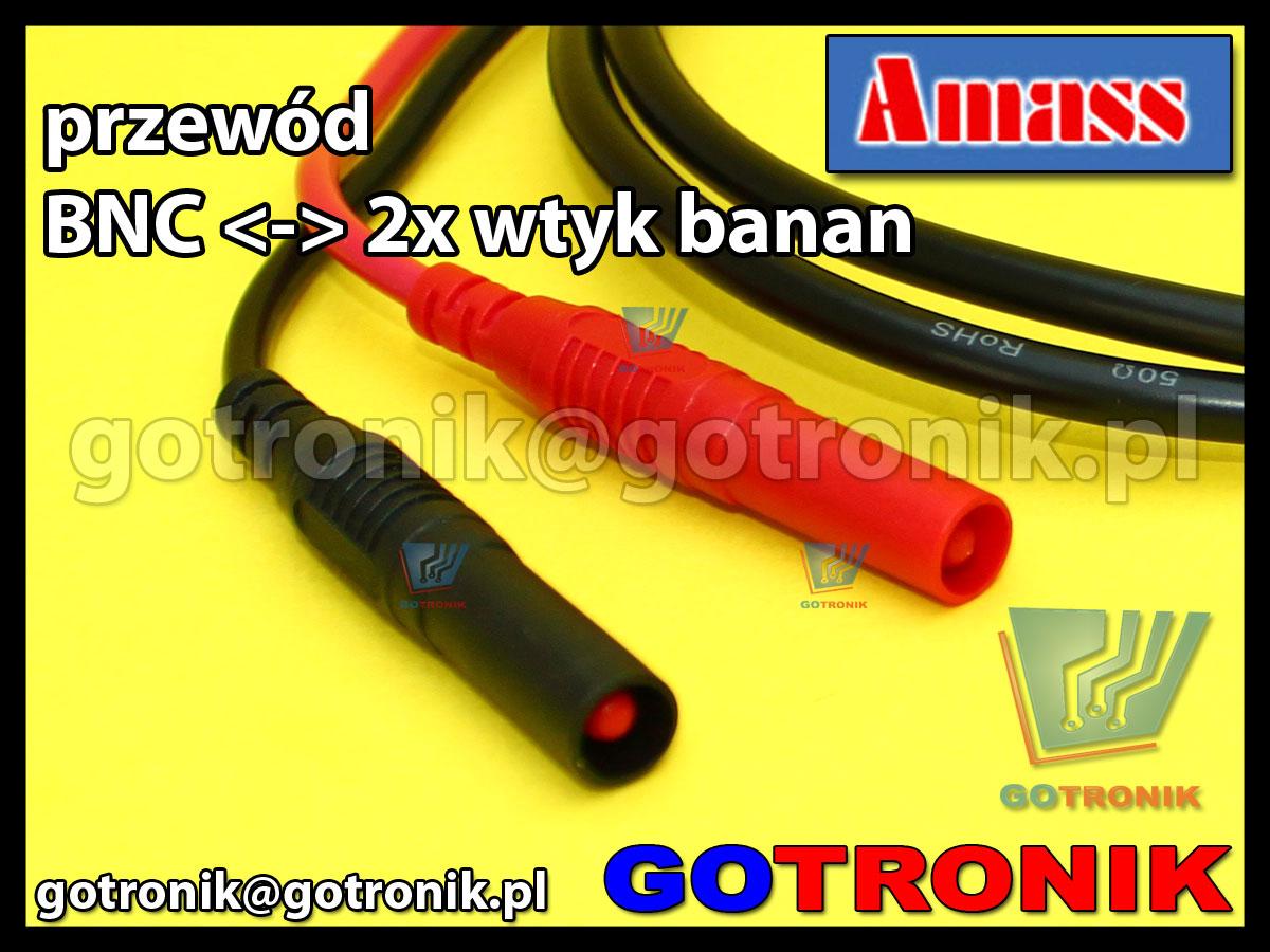 Przewód wtyk BNC na 2x wtyk banan 4mm izolowany Amass 21.010