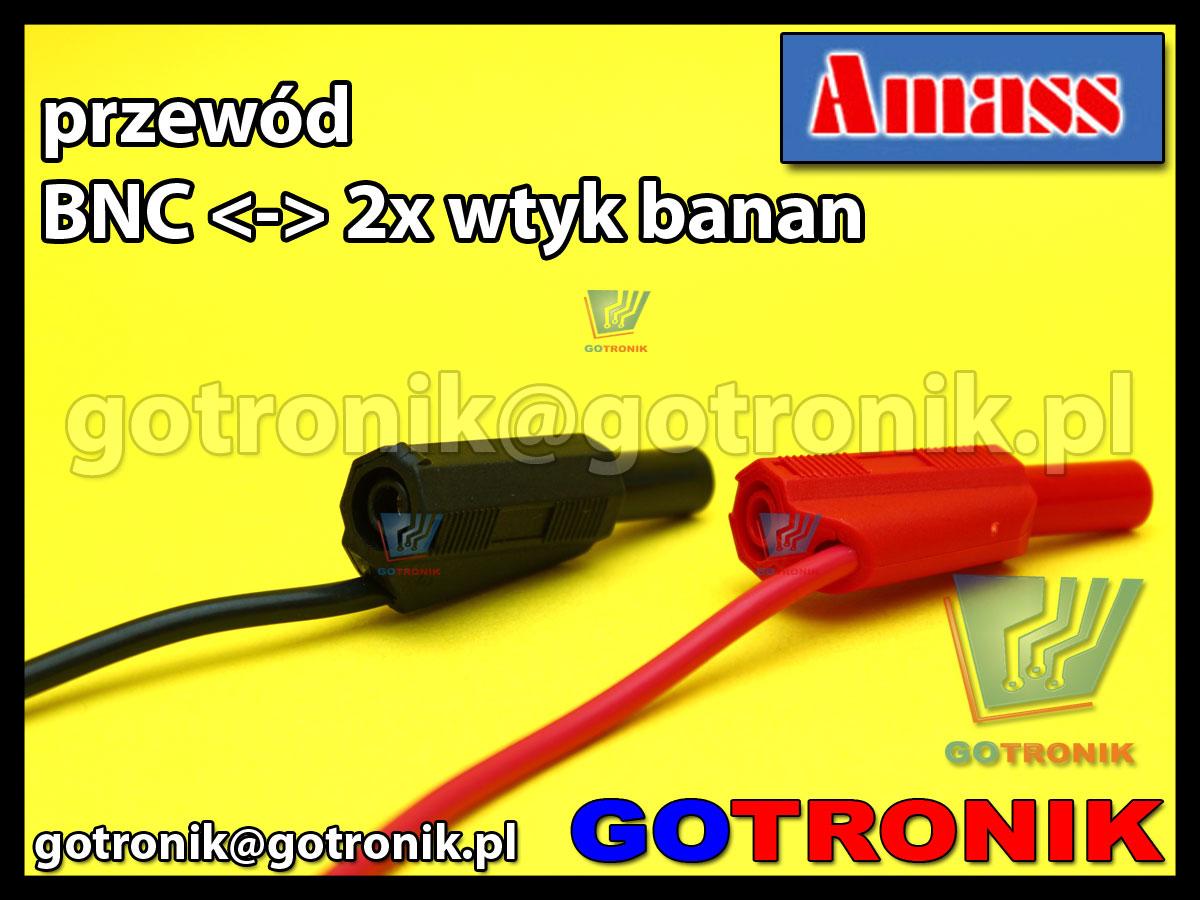 Przewód wtyk BNC na 2x wtyk banan 4mm izolowany Amass 21.020