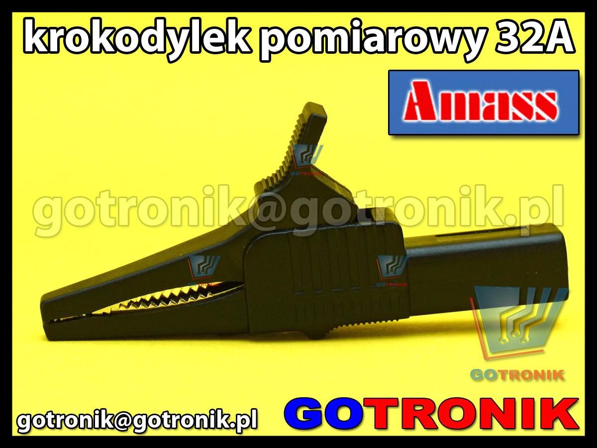 Krokodylek pomiarowy na gniazdo banan 4mm czarny Amass 27.262.2 32A 1000V CATIII