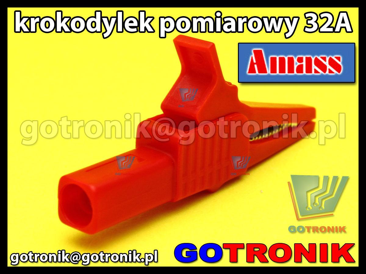Krokodylek pomiarowy na gniazdo banan 4mm czerwony Amass 27.262.1 32A 1000V CATIII