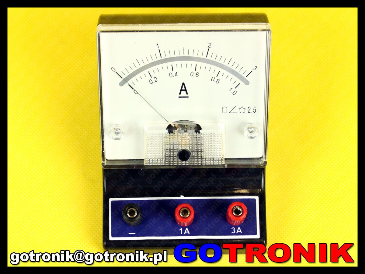LY0434 amperomierz analogowy szkolny DC do 3A