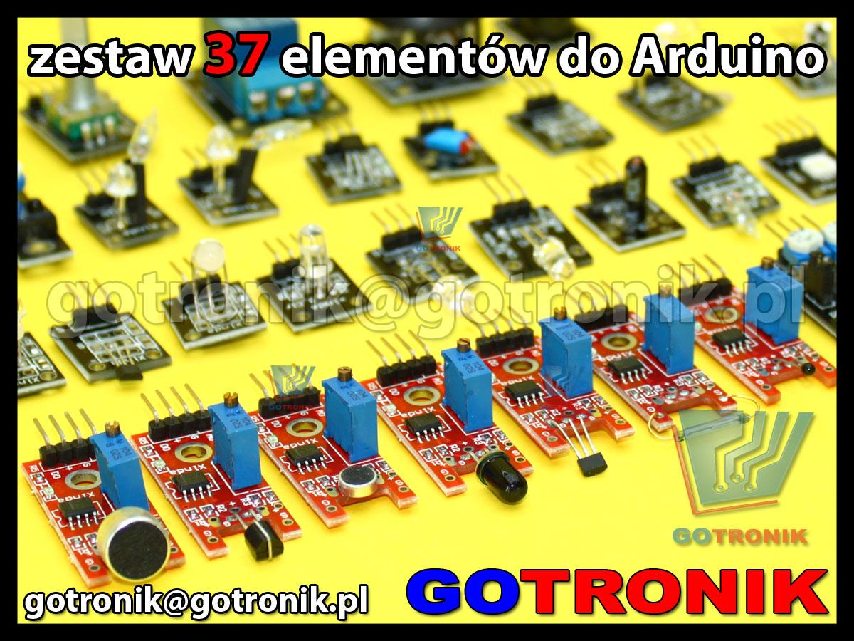 Arduino zestaw 37 sensorów, czujników, detektorów, modułów do mikroprocesorów