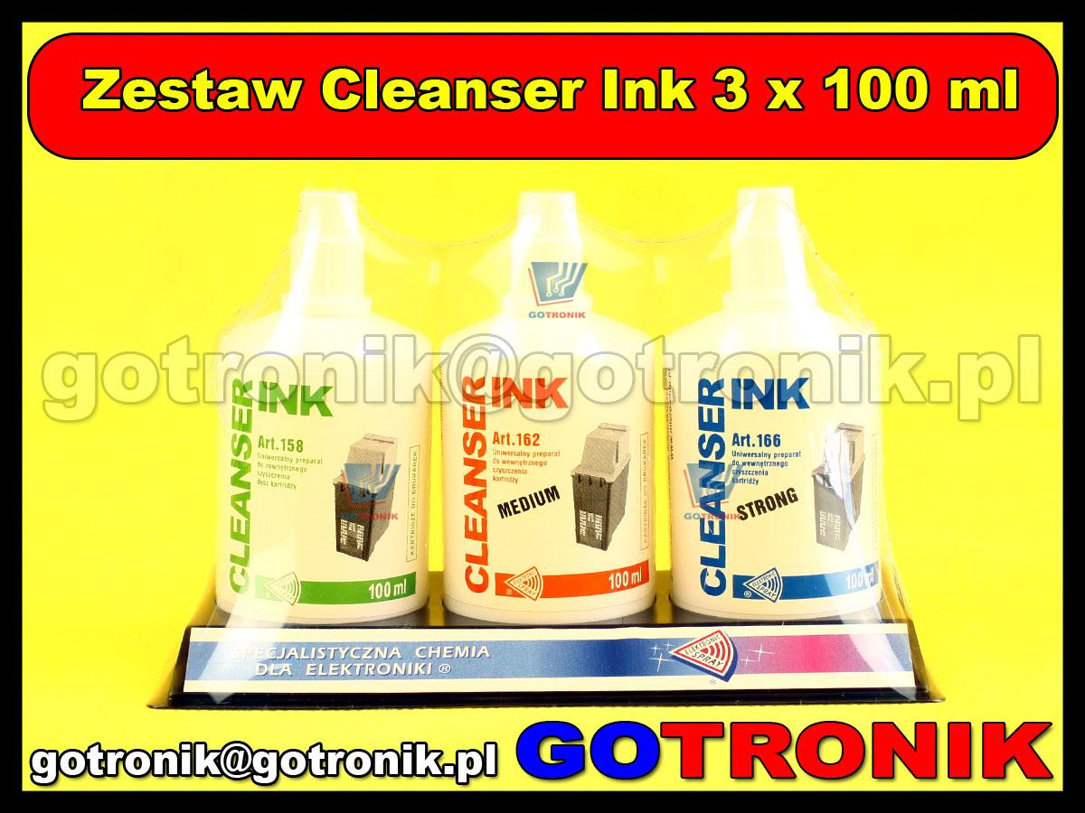 Zestaw Cleanser Ink 3 x 100 ml. (ART.170) - Zestaw 3 profesjonalnych płynów udrażniających do kartridży igłowic wszystkich typów drukarek atramentowych. CLEANSER INK ZEWNETRZNY Do zastosowania zewnętrznie przy lekko...
