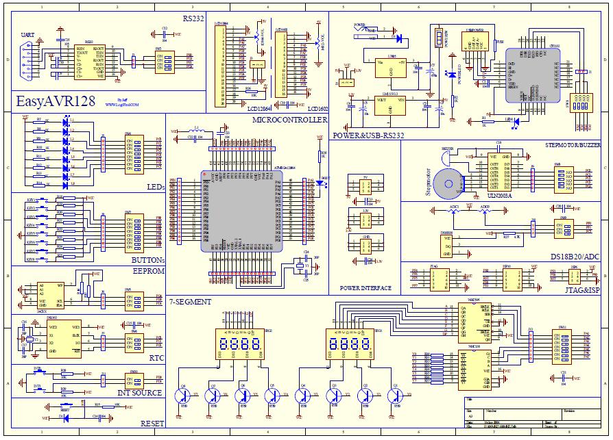 schemat ideowy modułu atmega128a avr atmel