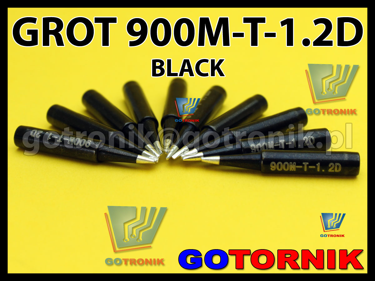 Grot 900M-T-1.2D płaski 1,2mm dłuto BLACK Zhaoxin 936a 936d 852D 898d 868 d Aoyue PT WEP Yihua