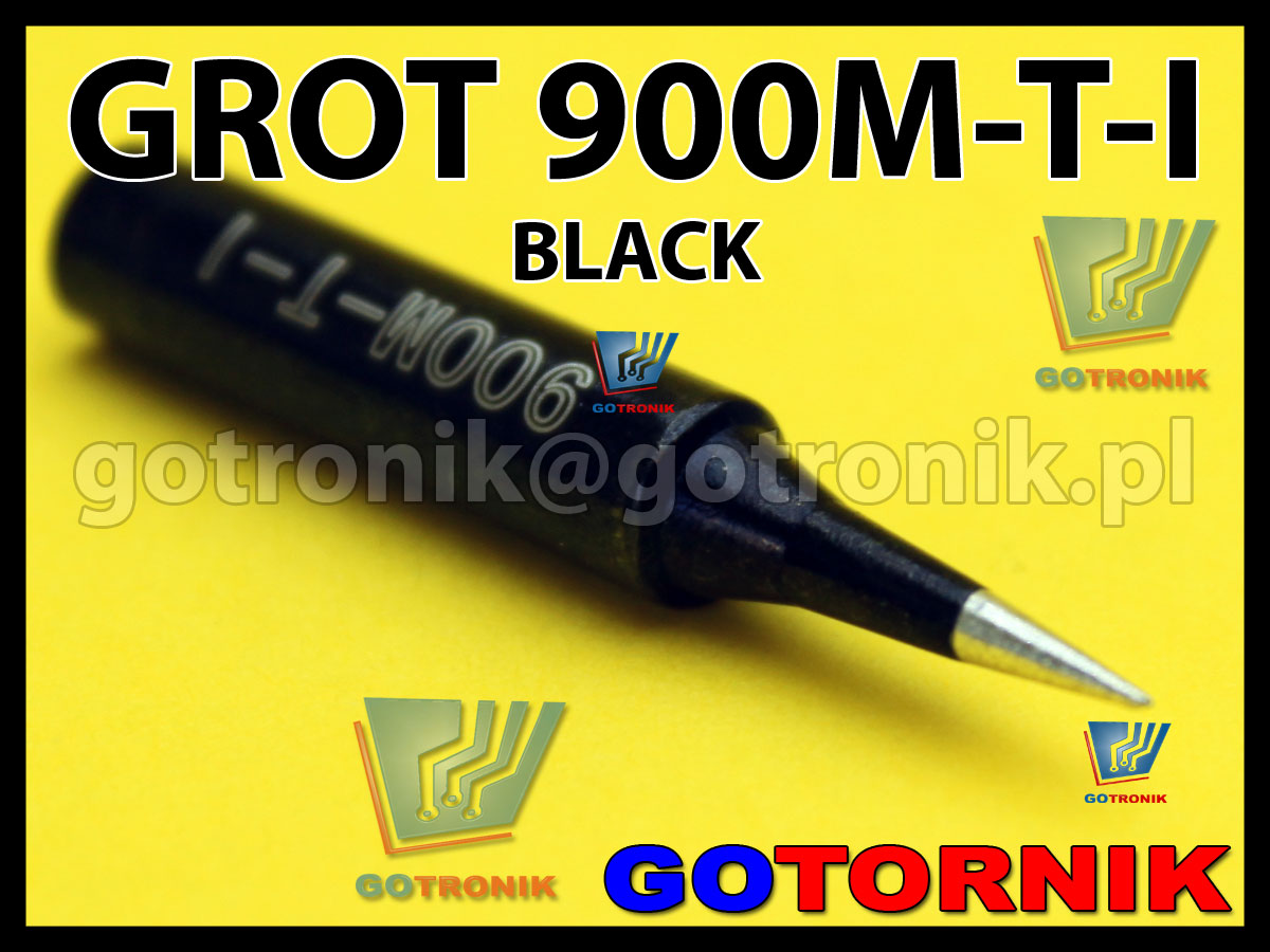 Grot 900M-T-I ostry stożek 0,5mm BLACK do SMD Zhaoxin 936a 936d 852D 898d 868 d Aoyue PT WEP Yihua