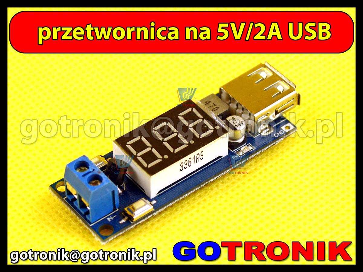 zasilacz ładowarka usb 5V 2A z woltomierzem i portem USB
