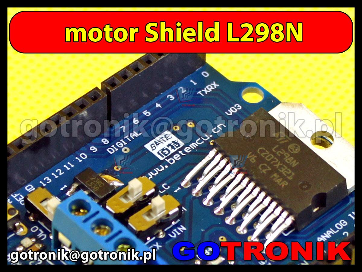 sterownik L298N shield na 2 silniki DC lub 1 silnik krokowy 4-przewodowy 2-fazowy