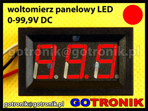 Woltomierz panelowy cyfrowy LED 0-99,9V CZERWONY obudowa V27D 100V