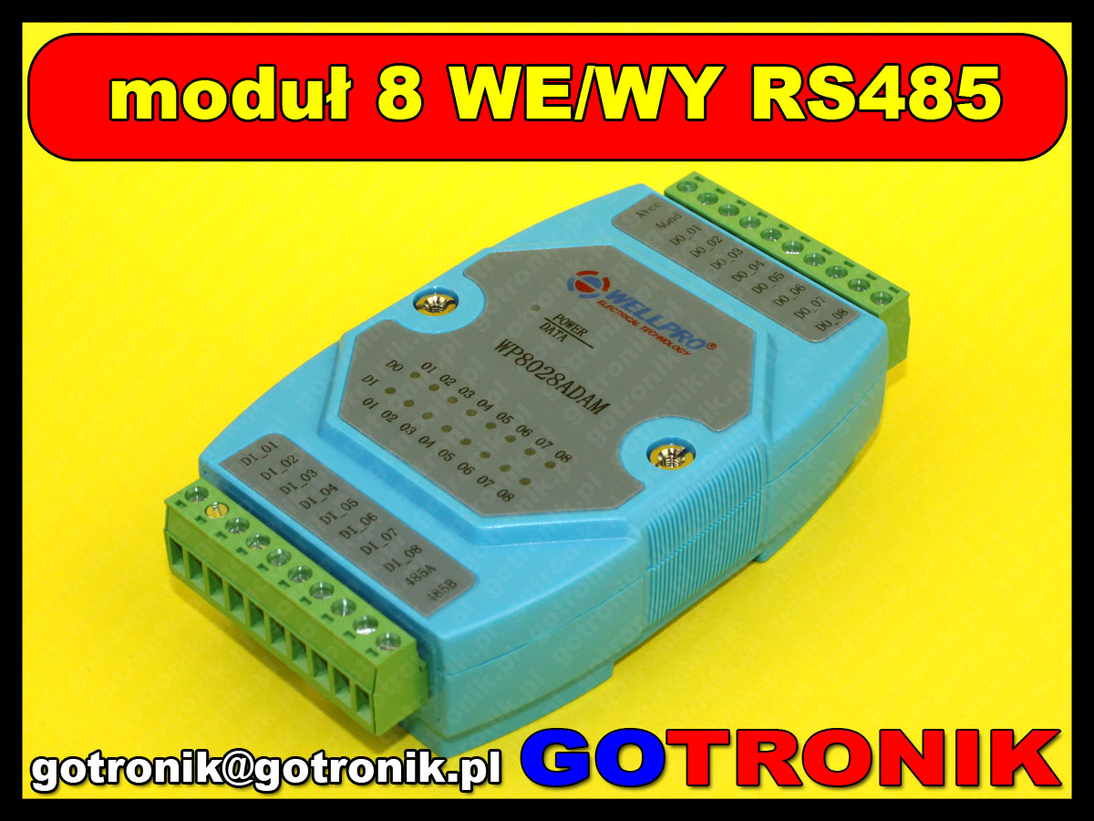 moduł 8 we wy i/o modbus rs485 wp8028adam wellpro wellpro