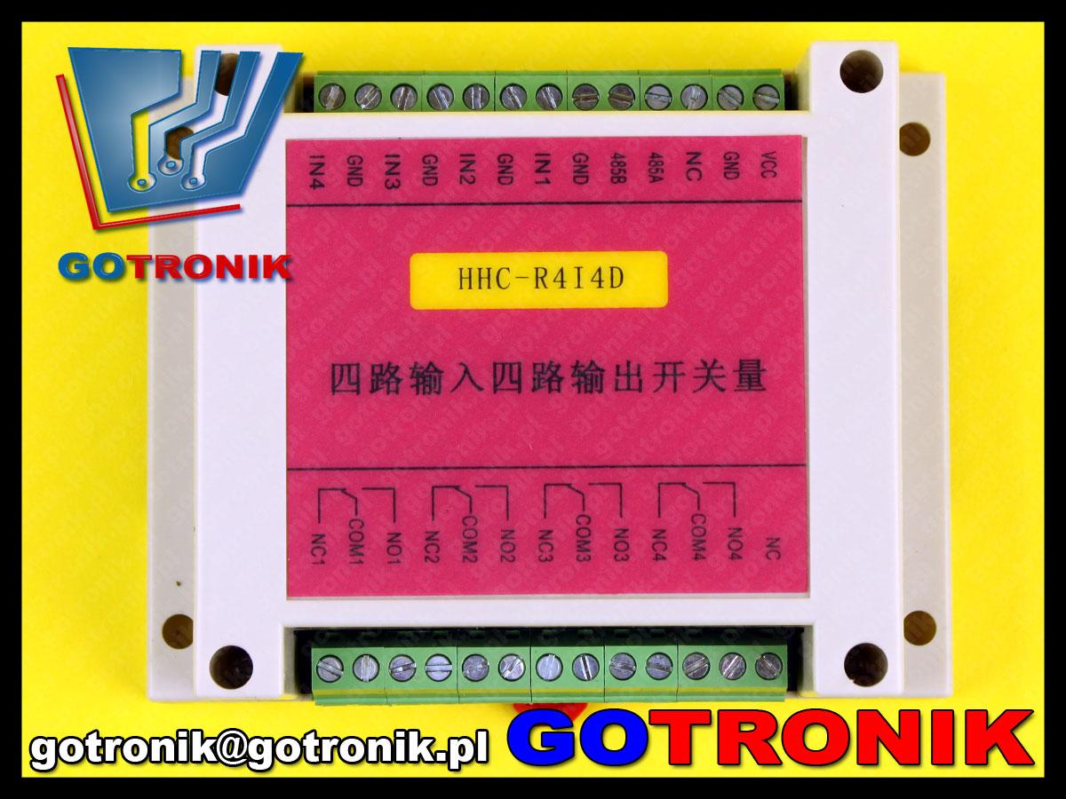 Moduł 4 przekaźników strowanych szeregową magistralą RS-485 MODBUS RTU. Moduł HHC-R4I4D