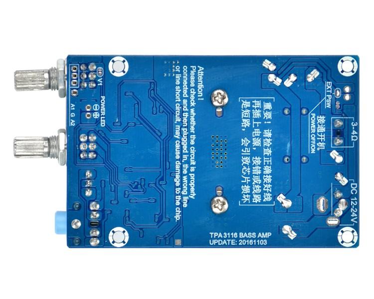 BTE-102 wzmacniacz mocy do subwoofera z aktywnym fitrem dolnoprzepustowym 100W TPA3116 12V - 24 V bass