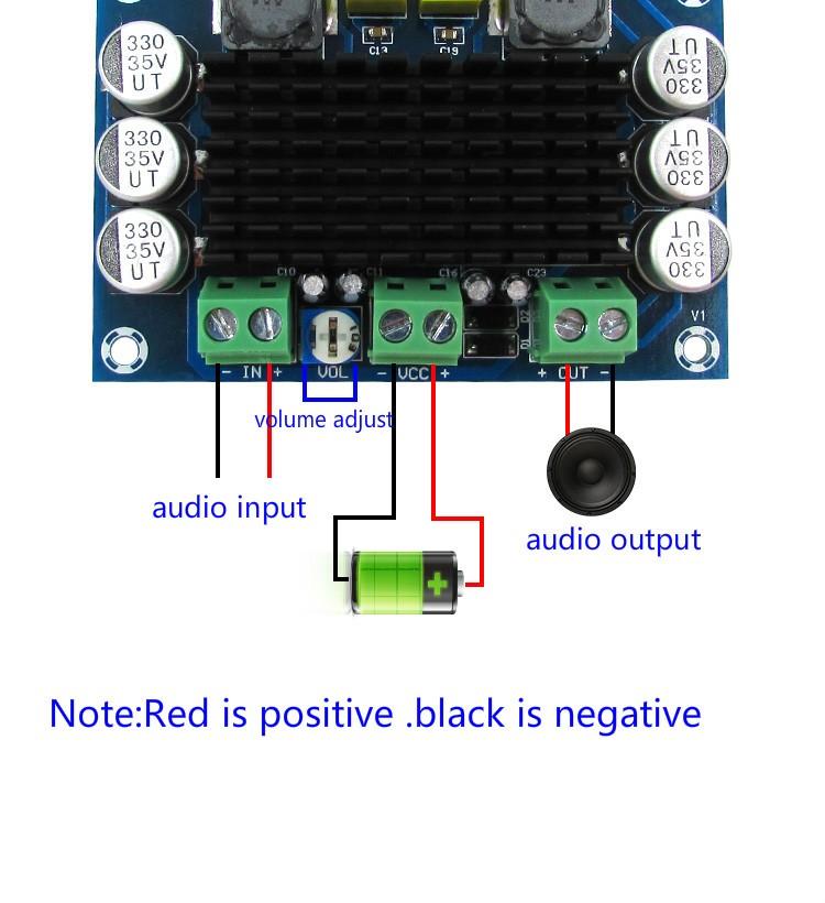 BTE-108 wzmaczniacz mocy audio TPA3116D2 klasa D 100W mono monoblock