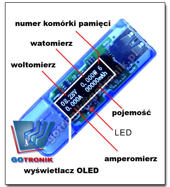 miernik napiecia, pradu, mocy pobieranej z USB BTE-139 USB CHARGER Doctor