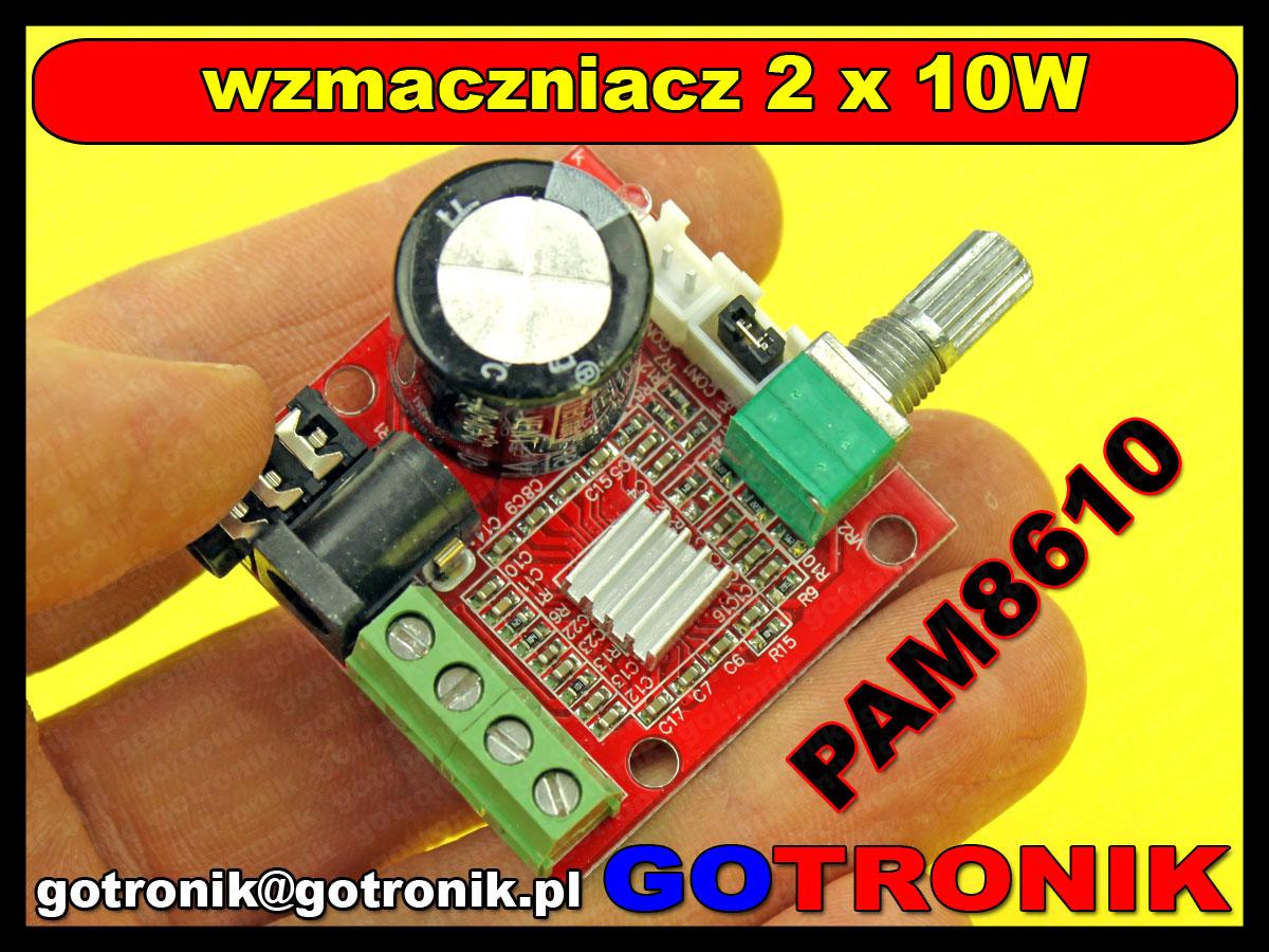 wzmacniacz mocy audio PAM8610 klasa D 2x10W